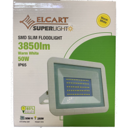 "PROIETTORE LED slim smd 50W 3850lm IP65 Bianco Caldo ""Warm White"""
