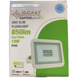 "PROIETTORE LED slim smd 10W 850lm IP65 Bianco Freddo ""Cool White"""