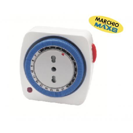 TIMER GIORNALIERO COMPATTO MAX8 REGOLAZIONE SENSO ORARIO CARICO MAX 3680W